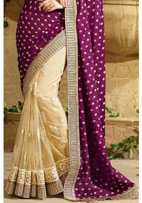 Cream #Yellow and Red Violet Faux Georgette #Embroidered #Festival Saree Sku Code: 223-5374SA972403 US $82.00 http://www.sareez.com/media/catalog/product/cache/1/image/9df78eab33525d08d6e5fb8d27136e95/2/2/223-5374SA972403_2.jpg #BrunaAbdullah