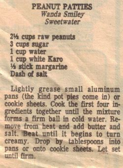 Peanut Patties Recipe Clipping
