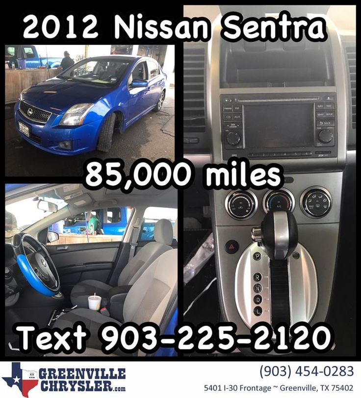 2012 Nissan Sentra with 85,000 miles!!! Navigation and sunroof!!! Just in!!! Call or text 903-225-2120 for Special Facebook price!!! Stock Number BB2268A. #CarsForSale #OpenSaturdays #CashCars #FreeQuote #RockwallTexas #RoyseCity #FateTexas #GreenvilleTexas #QuinlanTexas #Nissan #Sentra #NissanSentra #GreenvilleChrysler www.greenvillechrysler.com  https://deliverymaxx.com/DealerReviews.aspx?DealerCode=J122  #Nissan #NissanSentra #Carsales #greenvilleTexas #RockwallTexas…