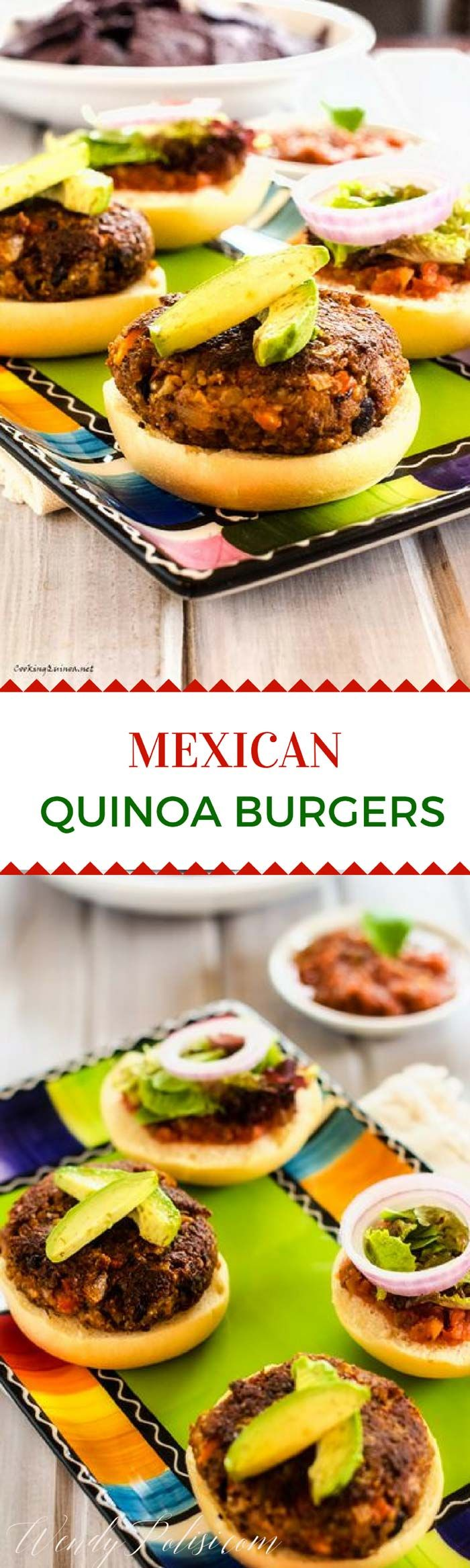 These Mexican Quinoa Burgers are the perfect solution to Meatless Monday. Gluten Free with a Vegan Option. via @wendypolisi
