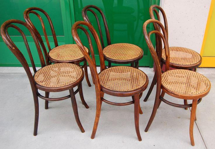 6 sedie Thonet (originali) primo '900 in faggio seduta paglia di Vienna