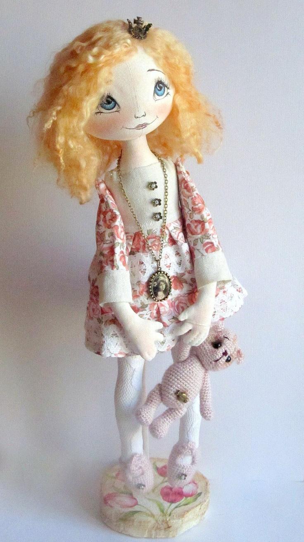 Cloth Art Doll Jana bear crochet princess by ArtDollsByKseniya