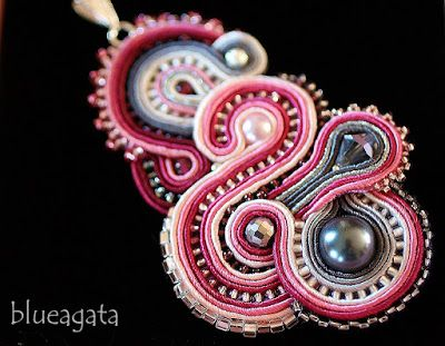 blueagata: Pink and grey soutache pendant