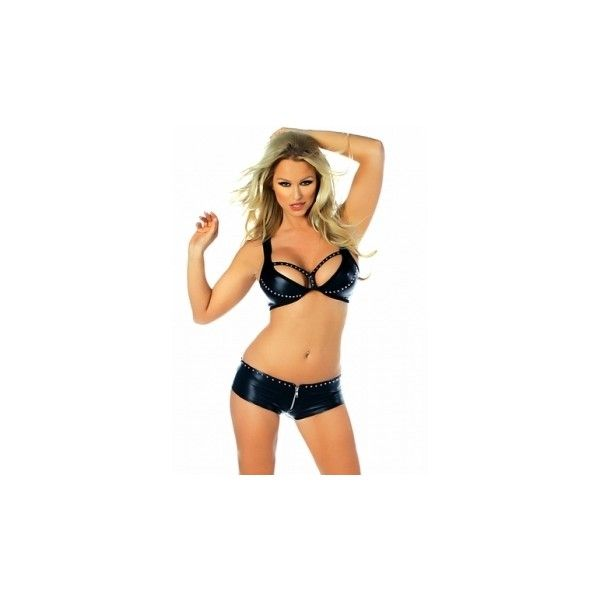 Sexy black fake leather nail head booty short set ❤ liked on Polyvore