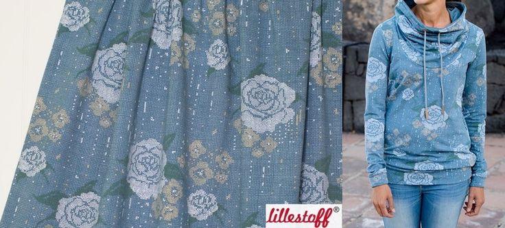 Floral Fabric – 1,5m Bio Sommer Sweat Kreuzstichrose Lillestoff  – a unique product by Nordlicht-Stoffe on DaWanda