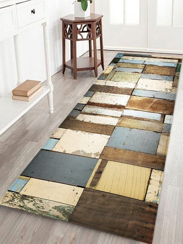 Coral Fleece Vintage Woodgrain Home Entrance Mat Kitchen Rugs