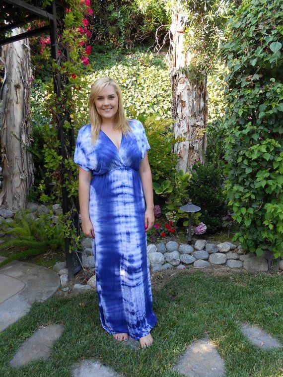 Maxi Dresses, Plus size Maxi dress, Tie Dye Maxi, long dress tie dye in royal blue/white m, l, XL, 2X 3X