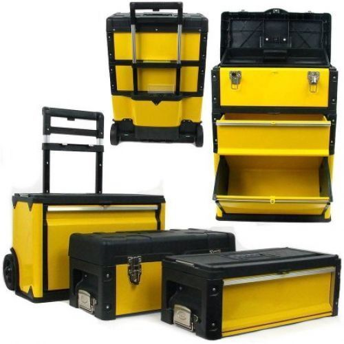 Garage Tool Box Mechanic 3 In 1 Portable Chest Oversized Mobile Storage Cabinet #GarageToolBox