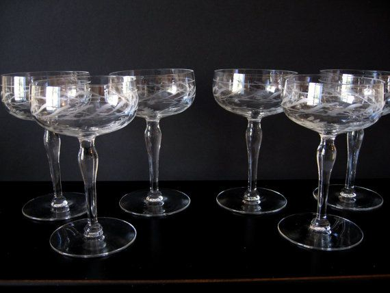 Vintage Etched Crystal Small Wine Glasses Flower by EtsyBetsyBits