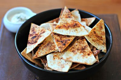 Seasoned Oven Baked Tortilla Chips- a flavorful pairing to a cool dip!