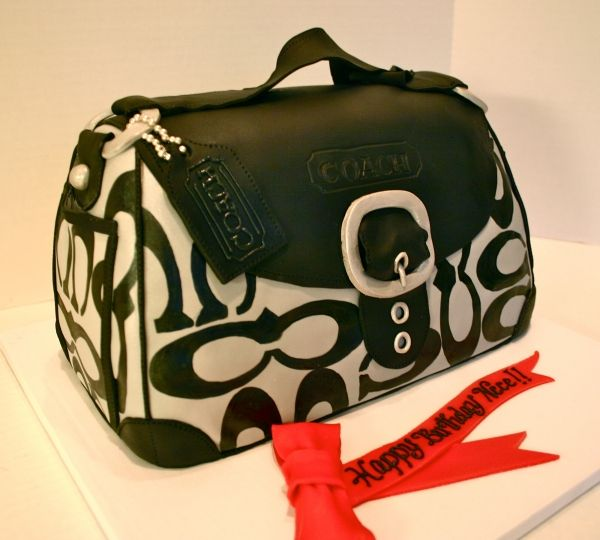 Black and Silver Coach Purse Cake