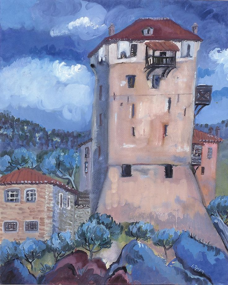 The tower in Ouranoupolis, tempera by Eli Trimis (all rights reserved). Ouranoupolis is located in Halkidiki, Greece.