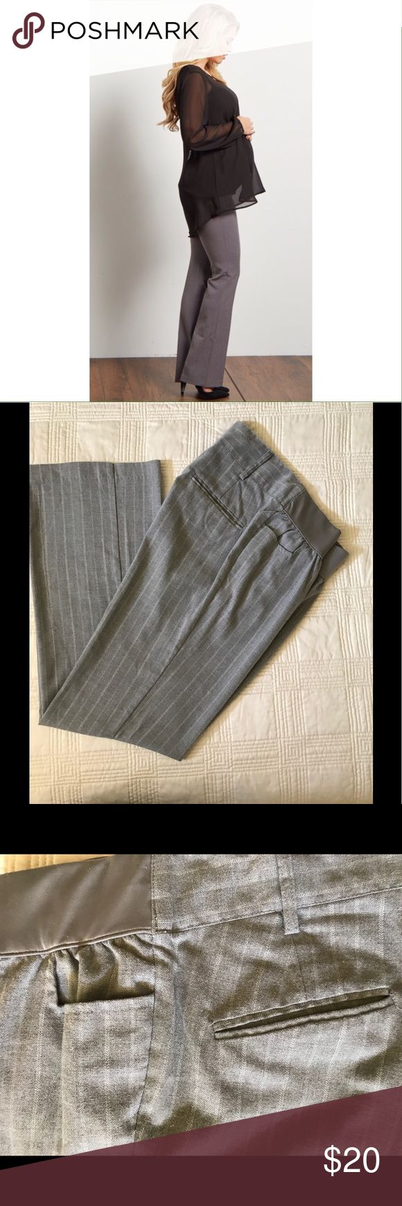 """Liz Lange Maternity Dress Pant Gray dress pants with silver metallic pinstripe are perfect for work or any dressy occasion.  Waist is 15"""" unstretched, 30"""" inseam, 8.5"""" leg opening. Size small. Liz Lange for Target Pants Trousers"""