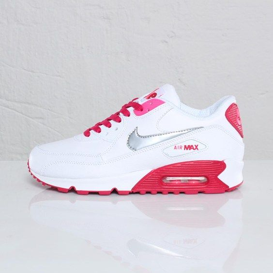 Nike Air Max 90 GS – White / Metallic Silver – Voltage Cherry