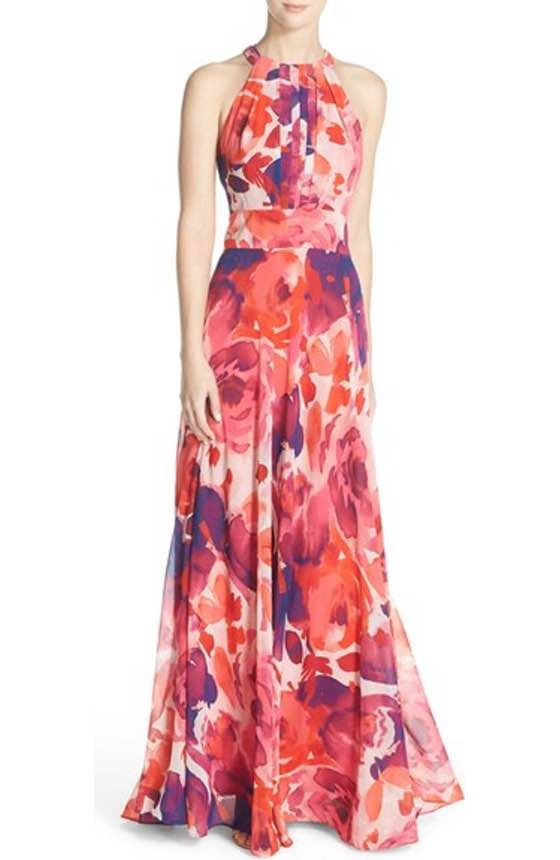 Free shipping and returns on Eliza J Print Chiffon Halter Maxi Dress at Nordstrom.com. Invigorating neons color the floral-printed chiffon that makes up this flowy, pleated gown. Adjustable ties at the nape and waist, plus an elastic-smocked back, fine-tune the comfortable fit.