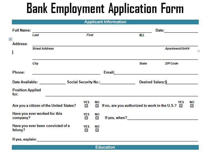 Bank Employment Application Form Template  Project Management