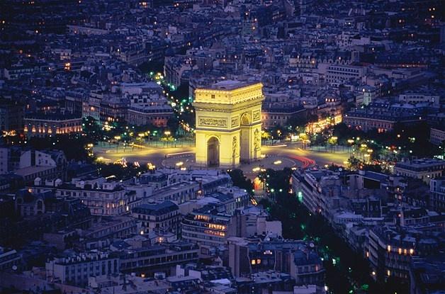 Arc de Triomphe illuminated at night