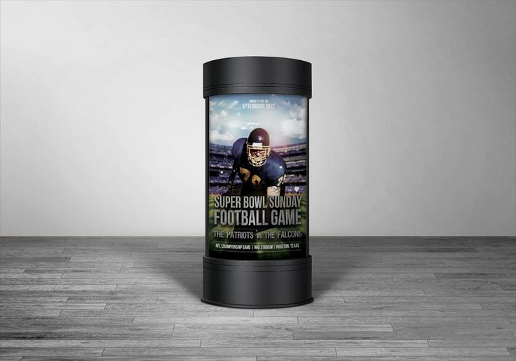 SUPER BOWL 2017 - Full circular rotating advertising stand for Super Bowl Sunday Football Game.