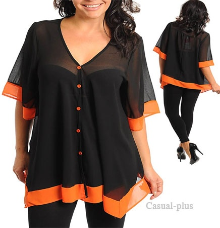 pictures of items the color black | Casual Plus Fashion trendy blouses for Junior Plus size, lady plus ...