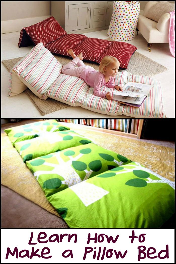 Got some extra pillows? Why not turn them into a small bed for kids!