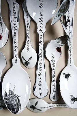 enamel spoons by Sue Brown
