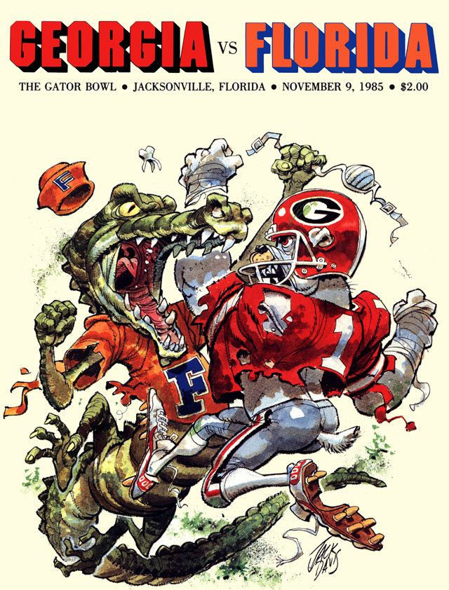 1985 Florida Gators vs Georgia Bulldogs Gator Bowl 22 x 30 Canvas Historic Football Poster