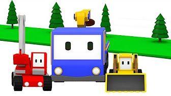 Mische Farben - Lerne Farben mit den kleinen Trucks: Planierraupe, Kran, Bagger - YouTube