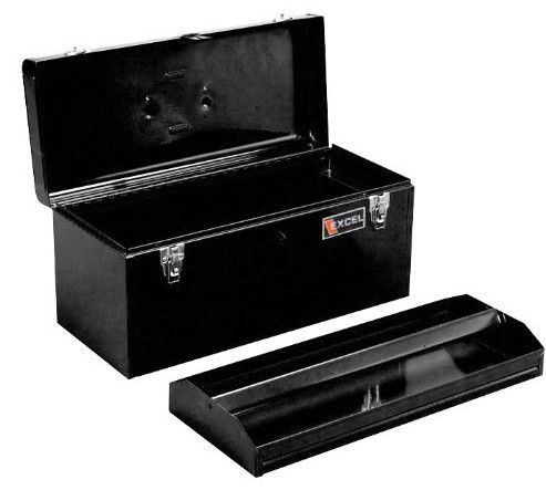 Excel Portable Steel Tool Box, Black   With It Outlets