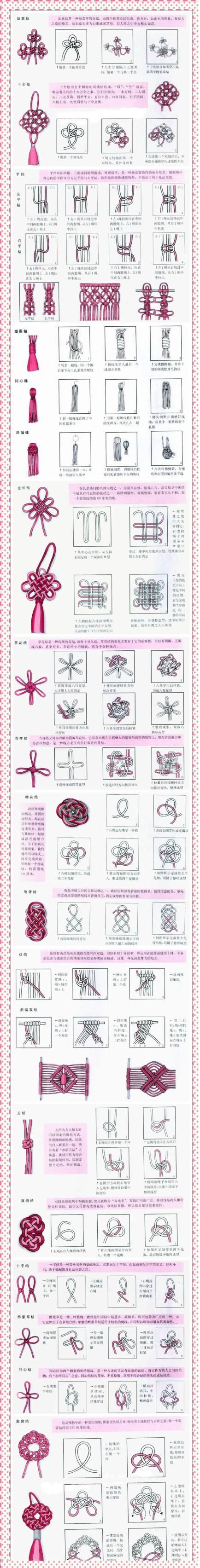 The various Chinese knot weave Collection. - How beautiful are these. Always wondered how they made them. More