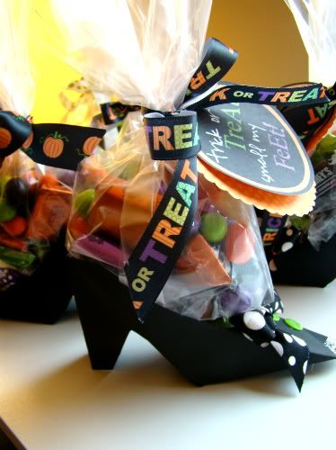 "Cute treats!  ""Trick or treat..Smell my feet!""  Paper witches shoe with baggie of treats.  Instructions for making the shoes are there too!"