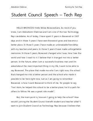 Student council speech