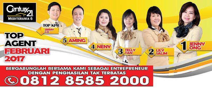 Century 21 Mediterania 6 TOP MA  1. Jenny Ong 2. Lily Salim 3. Telly Tan 4. Neny 5. Aming  TOP KPR 1. Jimmy Lo