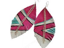 Feather Earrings - Leather Feather Gold Leather