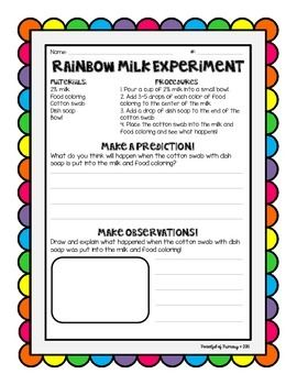 A freebie activity page for the perfect St. Patrick's Day science experiment!  Rainbow milk!This activity page includes the materials and procedures.  As you complete the experiment, students will make predictions and observations on the activity sheet.This could also be used in a rainbow thematic unit.