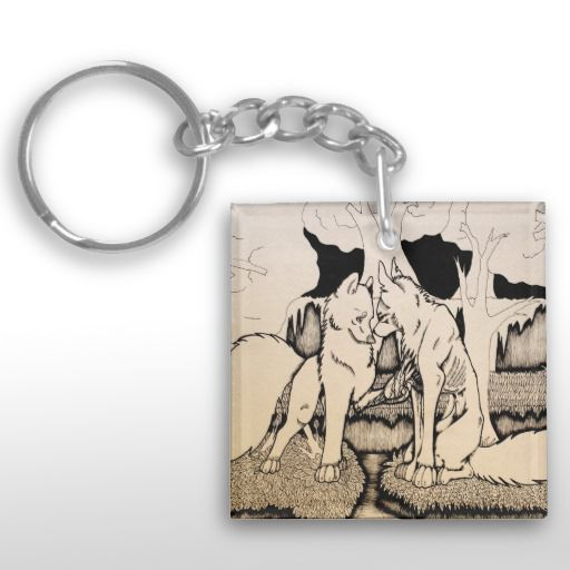 """""""Have You Ever Suffered?"""" Black and white illustrated wolf couple Keychain"""
