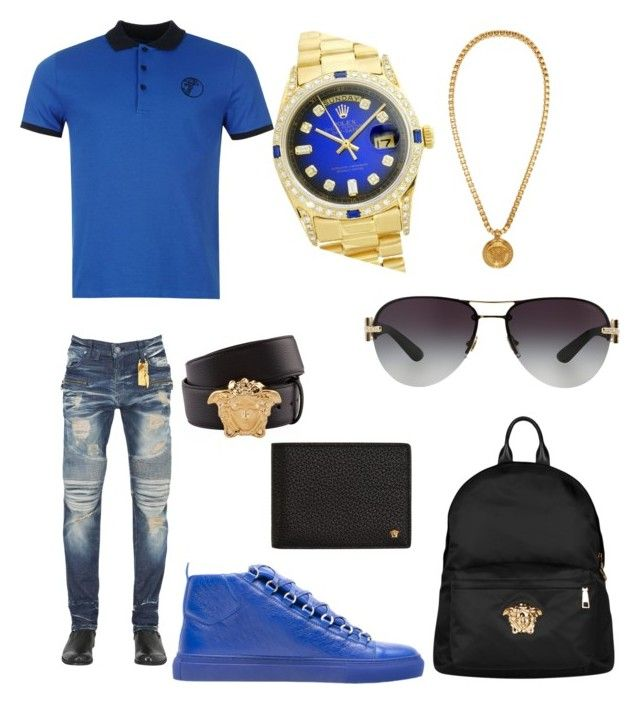 """""""Casual (Versace)"""" by pitbull8382 on Polyvore featuring Robin's Jean, Balenciaga, Versace, Rolex, men's fashion and menswear"""