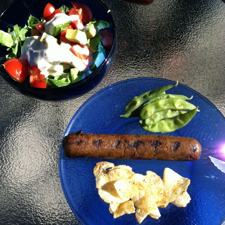 Vegan Sausage from the grill. Side salad and homemade vegan dressing. #vegan #BBQ #vegansausage #veganmenu