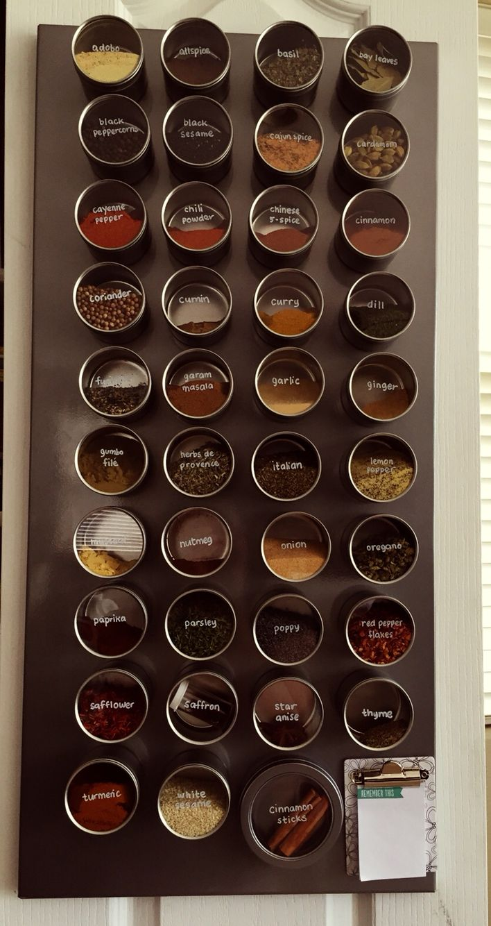 My spice wall. Magnetic board from ikea, jars from specialty bottles, magnetic strips on the back from Home Depot, and oil marker Sharpie to label the jars.
