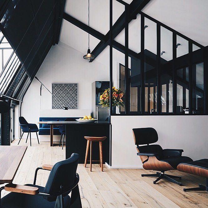 Un espace détente en total look noir et blanc