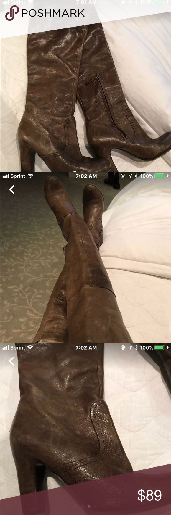Sam Edelman over the knee boots Olive green/brown shade super soft real leather boots size 5.5 , side zipper at ankle area, can be rolled down , still in great shape Sam Edelman Shoes Over the Knee Boots