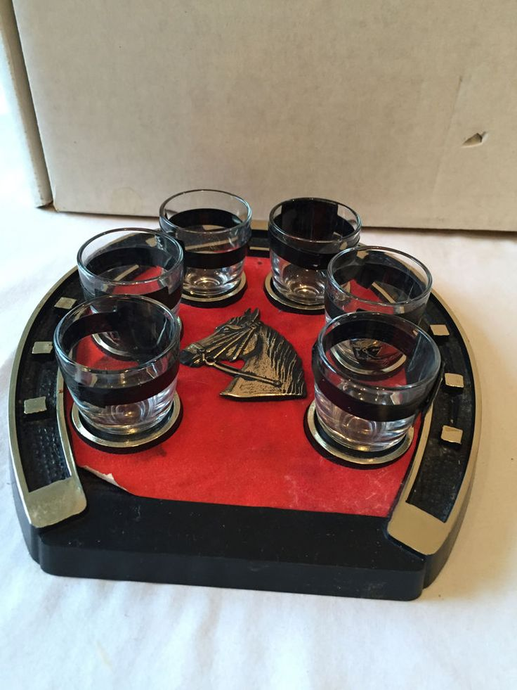 Vtg Horseshoe Set 6 Shot Glasses with Matching Serving Tray Mid Century Barware