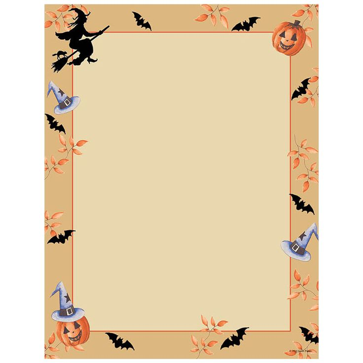 This Halloween printer paper features a witch riding on a broomstick, and orange pumpkin, and bats flyer across the border, and offers plenty of room in the middle of the sheet for customizing with your own message. The 8 1/2″ x 11″ stationary paper runs smoothly through inkjet printers, laser printers and copiers.