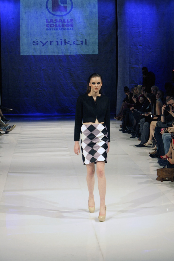 Boiled wool cropped jacket w/ satin lining & bias cut patchwork pencil skirt