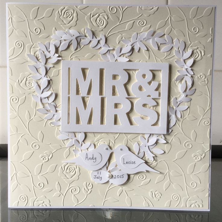 Wedding card using Tattered Lace die and embossing folder, Stampin Up punch