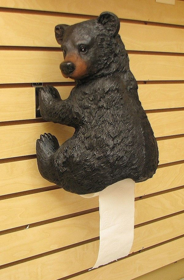 black bear toilet paper holder unique lodge rustic bathroom decor new