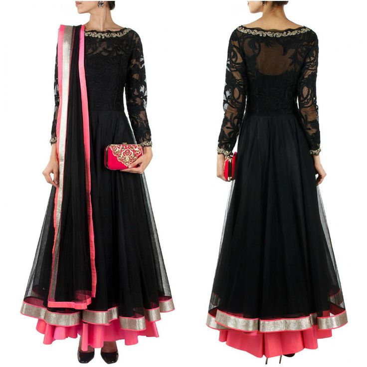 It is an ideal to wear wedding or party wear.heavy border double flair anarkali. This is an Indian bollywood Pakistani designer ethnic traditional and party wear suit. Top crafted in georgette, Raw Silk & Shantton bottom and inner in santoon and net dupatta. | eBay!