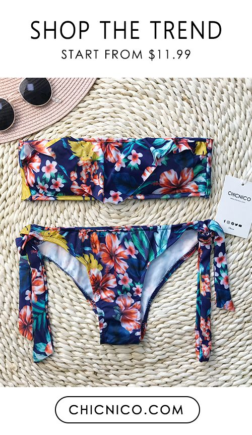 This bandeau multi color bikini set has got our hearts racing! $25.99 Only now! You gonna have this perfect look at chicnico.com