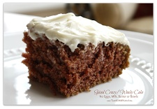 Spiced Crazy/Wacky Cake—This super moist and delicious cake has no eggs, milk or butter.  You don't even need a bowl!