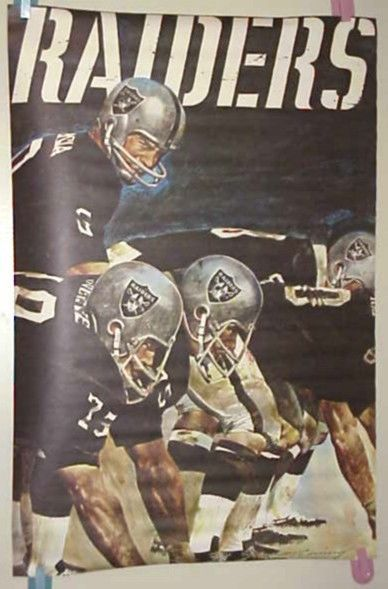 vintage 70's NFL Collector Series OAKLAND RAIDERS FOOTBALL Poster