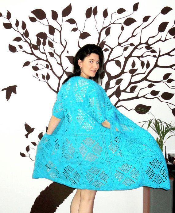Crochet Kimono Cardigan fringe kimono fringe cardigan by MOTEKKO